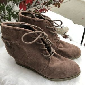 Madden Girl Dusky Microsuede Wedge Booties 11